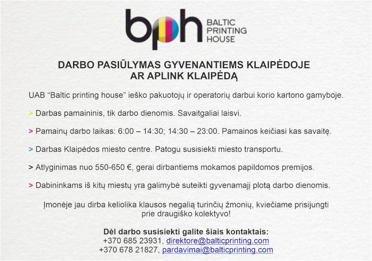 Darbo pasiūlymas Klaipėdos miesto bei Klaipėdos rajono gyventojams.