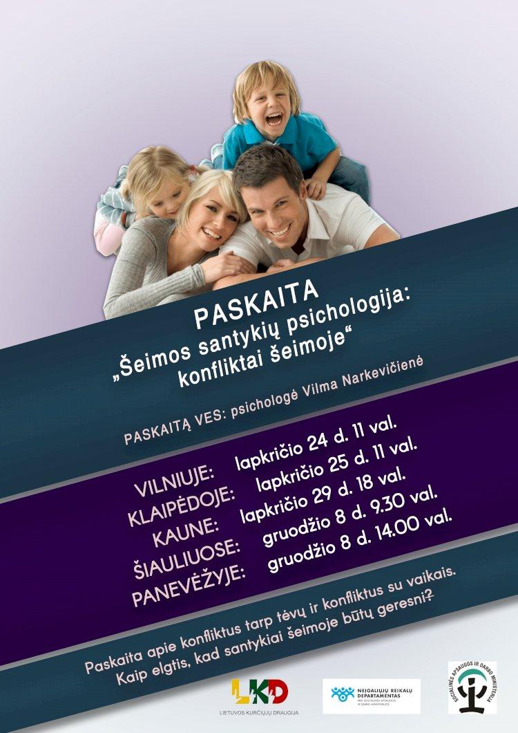 Visoje Lietuvoje - psichologės paskaitos apie konfliktus šeimoje