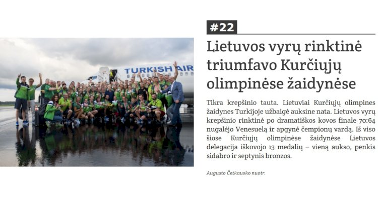 Kurčiųjų vyrų krepšinio komandos pergalė olimpiadoje - tarp 50-ties svarbiausių įvykių Lietuvoje 2017-taisiais metais!