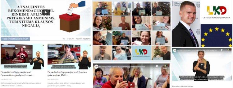 """2020 m. projekto """"Lietuvos kurčiųjų draugijos stiprinimas – iš organizacijos vidaus į išorinį bendradarbiavimą"""" veiklos."""
